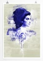 Amy Winehouse II 90x60cm Paul Sinus Art Splash Art Wandbild als Poster ohne Rahmen gerollt