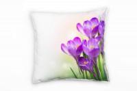 Blumen, lila, grün, Krokusse, Pastellfarben Deko Kissen 40x40cm für Couch Sofa Lounge Zierkissen