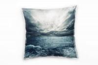 Meer, grau, blau, Wellen, Wolken, Wasseroberfläche Deko Kissen 40x40cm für Couch Sofa Lounge Zierkis
