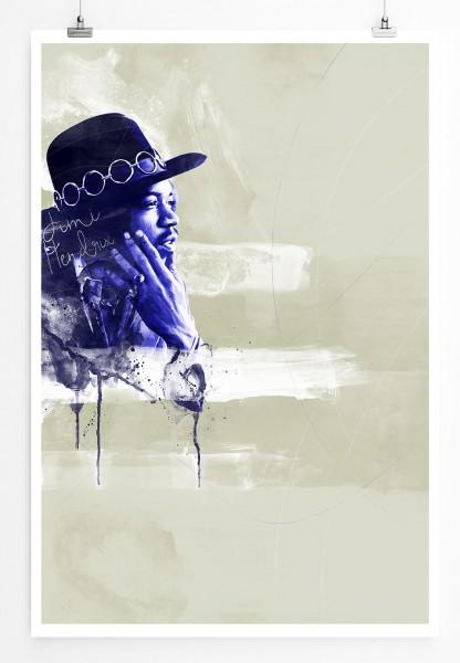 Jimi Hendrix 90x60cm Paul Sinus Art Splash Art Wandbild als Poster ohne Rahmen gerollt