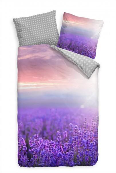 Sonnenuntergang Lavendel Feld Purpur Bettwäsche Set 135x200 cm + 80x80cm Atmungsaktiv