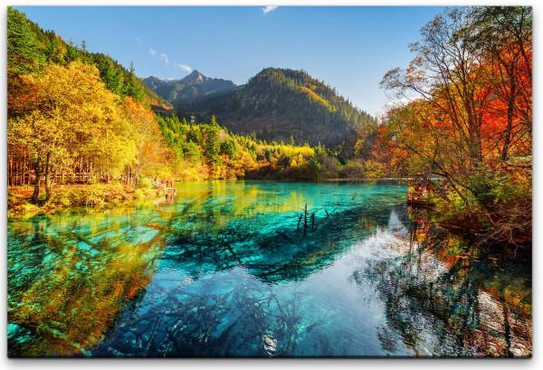 China bunter See Wandbild in verschiedenen Größen