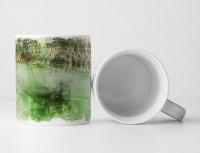Tasse Geschenk Abstrakt Retro Optik mit Schrift, braun und grün