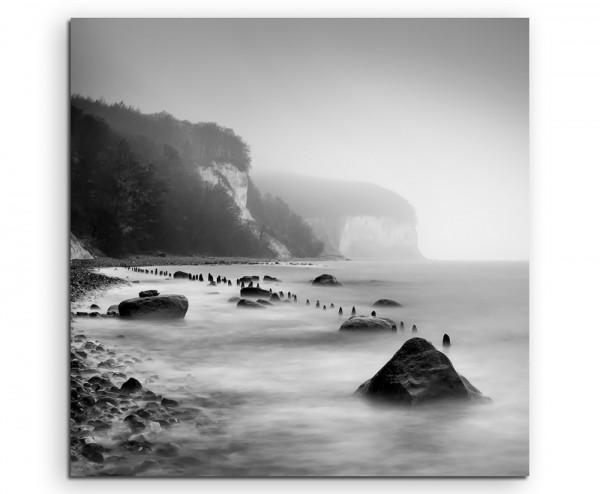Landschaftsfotografie –  Sassnitzer Küste bei Nebel, Rügen auf Leinwand exklusives Wandbild moderne