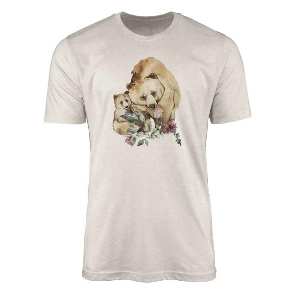 Herren Shirt 100% gekämmte Bio-Baumwolle T-Shirt Aquarell Bären Mama Motiv Nachhaltig Ökomode aus