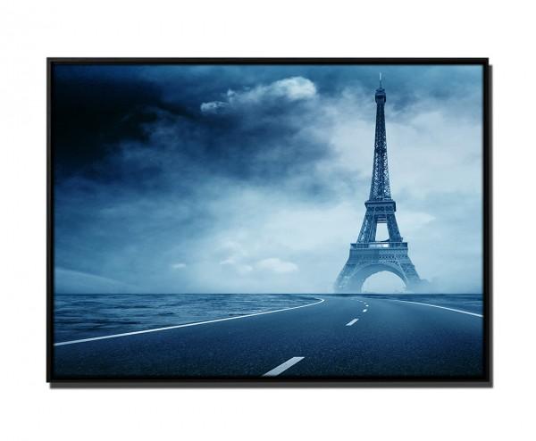 105x75cm Leinwandbild Petrol Leere Straße Eiffelturm