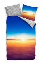 Himmel Sonnenaufgang Aussicht Flugzeug Bettwäsche Set 135x200 cm + 80x80cm  Atmungsaktiv