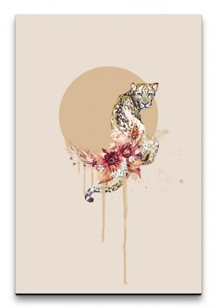 Raubkatze Leopard Blumen fließende Farben Wasserfarben Dekorativ