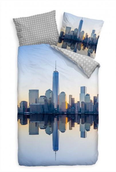Manhattan Skyline Horizont Spiegelung Bettwäsche Set 135x200 cm + 80x80cm Atmungsaktiv
