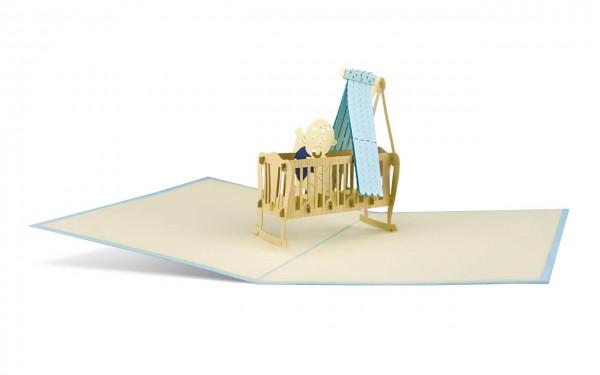 Kinderwiege blau Grußkarte Größe: 12x18cm