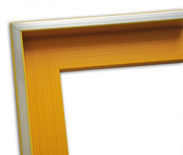 Echtholz Schattenfugenrahmen schlicht in gelb mit Silberkante