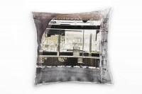 Couch Sofa Lounge Zierkissen in 40x40cm City Terrabraun Braunbeige Dunkelgrau