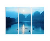 130x90cm Sonnenaufgang Berge Fluss China