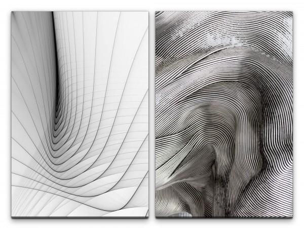 2 Bilder je 60x90cm Abstrakt Minimal Schwingung Radiowellen Schwarz Weiß Büro Technisch