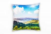 Landschaft, grün, blau, Hügel, Bäume, Wolken, Ukraine Deko Kissen 40x40cm für Couch Sofa Lounge Zier
