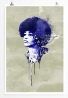 Angela Davis 90x60cm Paul Sinus Art Splash Art Wandbild als Poster ohne Rahmen gerollt