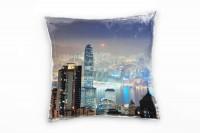City, blau, orange, Hochhäuser, Hongkong, Nacht, Lichter Deko Kissen 40x40cm für Couch Sofa Lounge Z