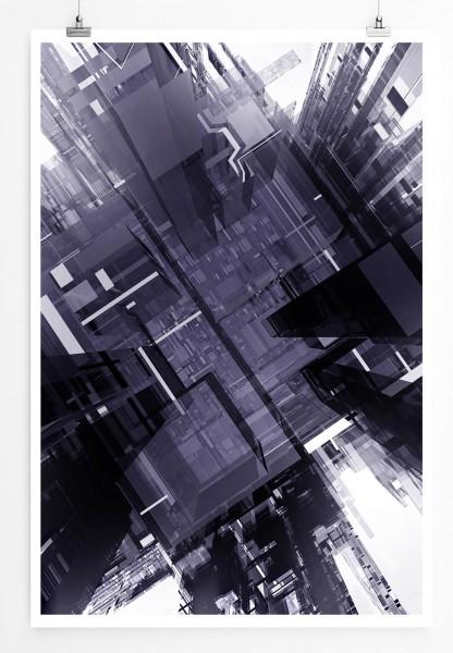 60x90cm Architektur Modell Poster Wolkenkratzer von oben