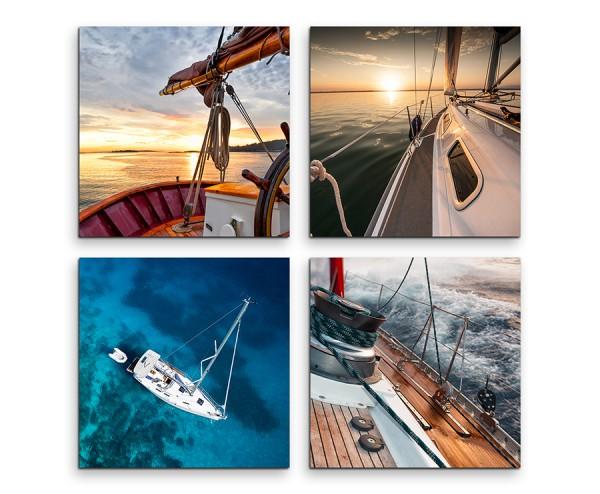 4 teiliges Leinwandbild je 30x30cm  -  Schiffsbug Meer Boot Wasser