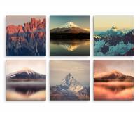 6 teiliges Leinwandbild je 30x30cm -  Fuij Vulkan Japan Landschaft