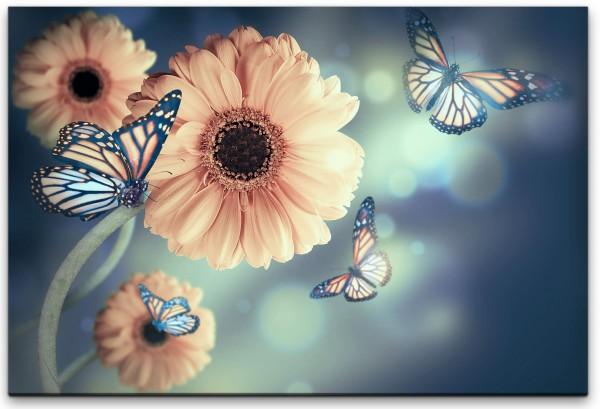 Blumen mit Schmetterlingen Wandbild in verschiedenen Größen