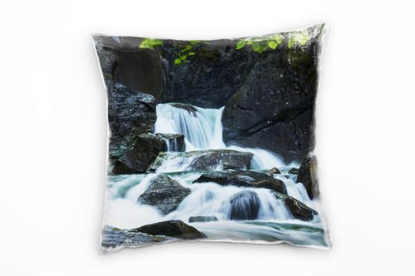 Natur Grau Grün Weiß Wasserfall Alaska Deko Kissen 40x40cm Für
