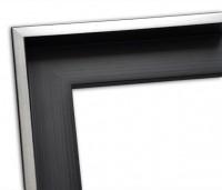 Echtholz Schattenfugenrahmen schwarz-matt mit Silberkante