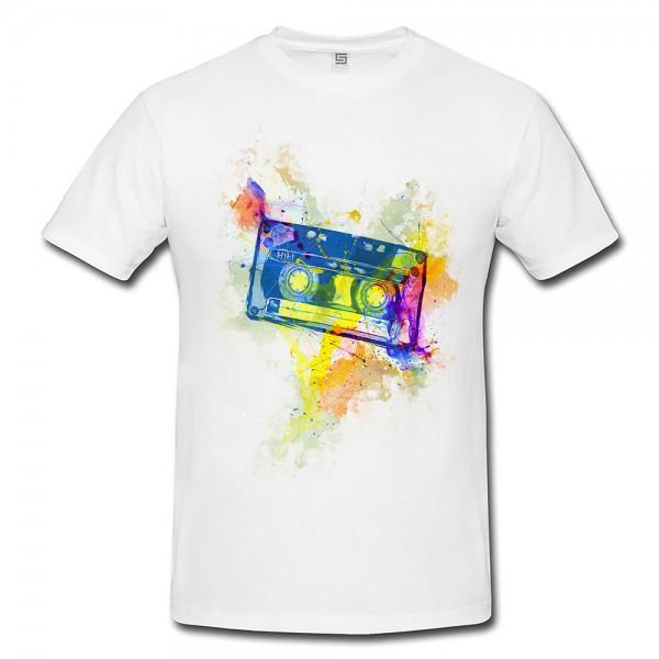 Kassette Oldschool Herren T- Shirt , Stylisch aus Paul Sinus Aquarell Color