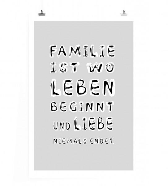 Poster In 60x90cm Familie Ist Wo Leben Beginnt Und Liebe Niemals