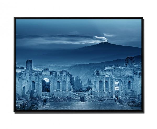 105x75cm Leinwandbild Petrol Ruinen Amphitheater Ätna Sonnenuntergang