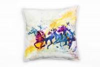 Pferderennen I Deko Kissen Bezug 40x40cm für Couch Sofa Lounge Zierkissen