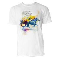 Pferderennen mit 2 Pferden Sinus Art ® T-Shirt Crewneck Tee with Frontartwork