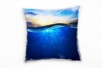 Meer, blau, orange, Unterwasser, Welle Deko Kissen 40x40cm für Couch Sofa Lounge Zierkissen