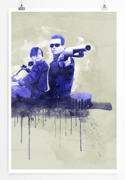 Terminator 90x60cm Paul Sinus Art Splash Art Wandbild als Poster ohne Rahmen gerollt