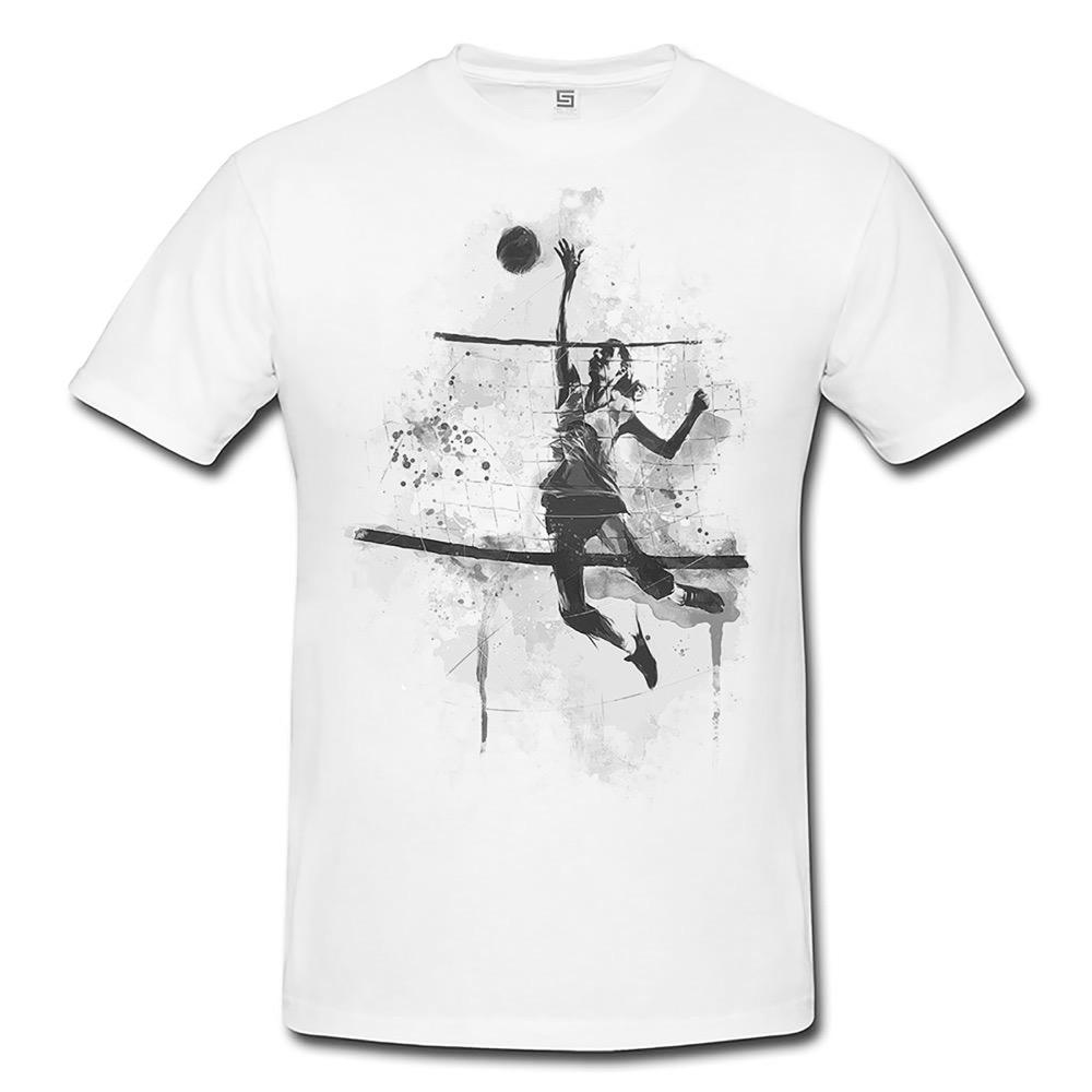 Volleyball Herren und Damen T Shirt BLACK WHITE