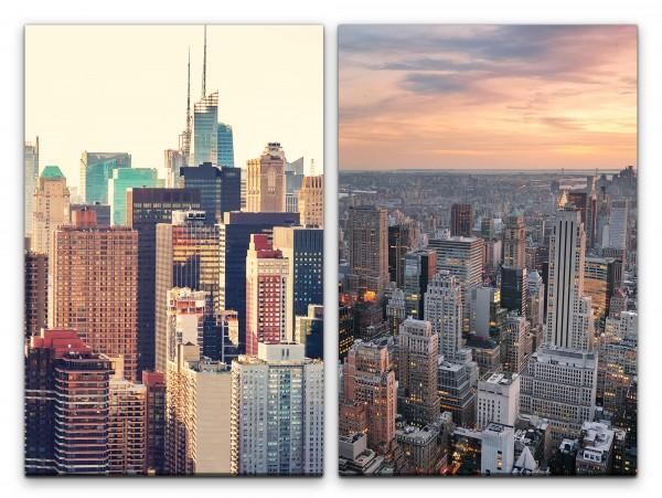 2 Bilder je 60x90cm New York USA Wolkenkratzer Skyline Urban Großstadt Mega City