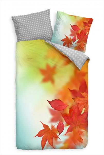"""Herbst Hintergrund Bl""""tter Rot Orange Bettwäsche Set 135x200 cm + 80x80cm Atmungsaktiv"""