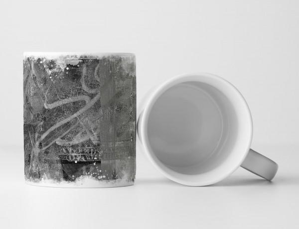 Tasse Geschenk dunkelgraue Abstraktion + Aufschrift