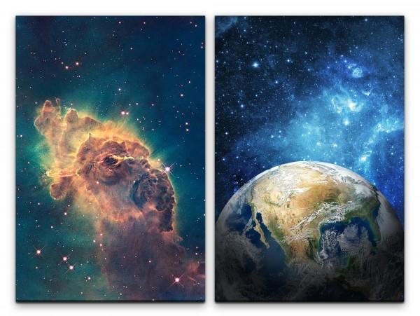 2 Bilder je 60x90cm Nebula Erde Planet Weltall Universum Sterne Galaxie