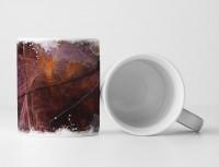 Tasse Geschenk dunkle Grundierung + Pinselstriche in orange und altrosa