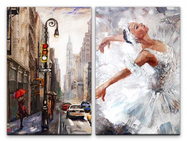 2 Bilder je 60x90cm New York Ballerina Ballett Broadway Malerisch Traumhaft Zauberhaft