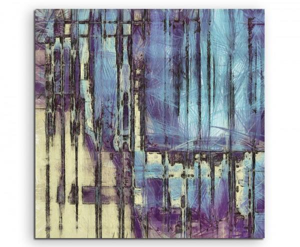 Illustration – Abstraktes Gemälde mit schwarzen Streifen und Blau  auf Leinwand