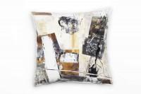Couch Sofa Lounge Zierkissen in 40x40cm Mona Lisa Ockerbraun Mausgrau Weiß