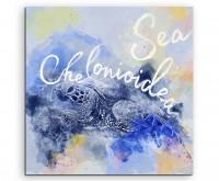Süße Seeschildkröte mit Kalligraphie