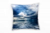 Meer, blau, grau, Wolken, glatte Wasseroberfläche Deko Kissen 40x40cm für Couch Sofa Lounge Zierkiss