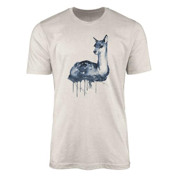 Herren Shirt 100% gekämmte Bio-Baumwolle T-Shirt Aquarell Reh Motiv Nachhaltig Ökomode aus erneuerb