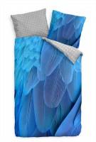Feder Blau Makro  Bettwäsche Set 135x200 cm + 80x80cm  Atmungsaktiv