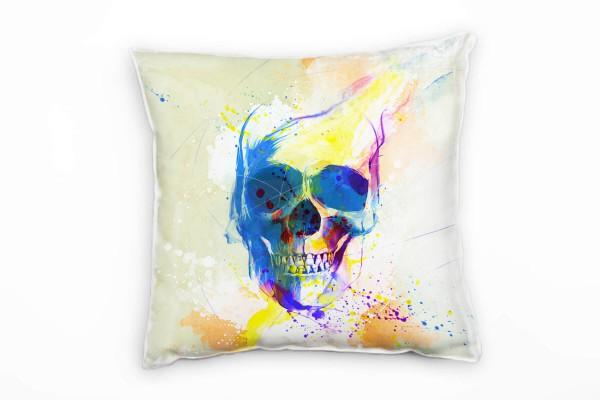 Totenkopf Deko Kissen Bezug 40x40cm für Couch Sofa Lounge Zierkissen