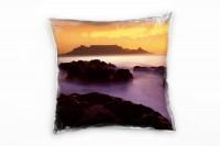 Landschaft, orange, grau, Dunst, Kapstadt, Sonnenuntergang Deko Kissen 40x40cm für Couch Sofa Lounge