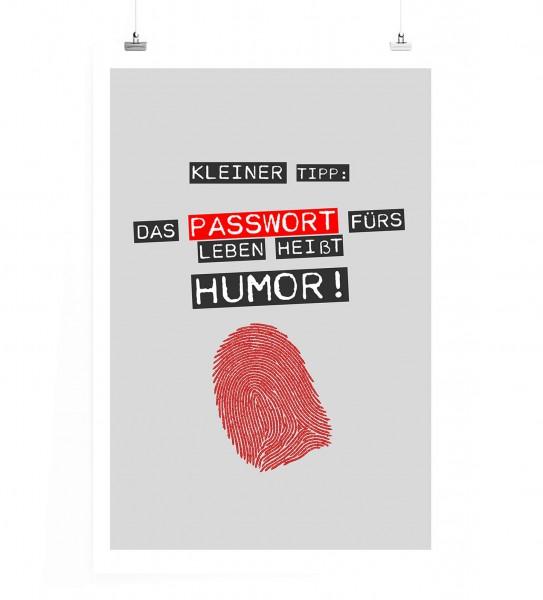 Poster in 60x90cm - Kleiner Tipp: Das Passwort fürs Leben heißt Humor!